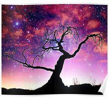 Nature Galaxy Nebula Tree Poster