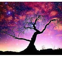 Nature Galaxy Nebula Tree Photographic Print