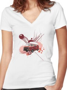 T3 Transporter Van (High Top) Women's Fitted V-Neck T-Shirt