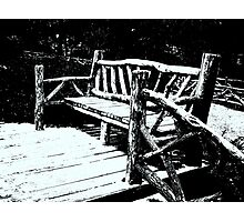 Bench With Snow Photographic Print