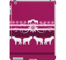 White lambs on a pink background iPad Case/Skin