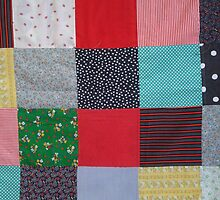 quirky vintage colorful fabric patchwork design by pollywolly