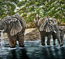 """""""Thirsty Elephants"""" - Oil Painting by Avril Brand"""