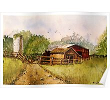 Down the Road - Impressionistic Rural Landscape Watercolor Poster