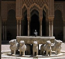 Palace fountain within the Alhambra, Granada, Spain by ljm000