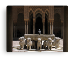 Palace fountain within the Alhambra, Granada, Spain Canvas Print