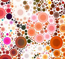 abstract geometric pattern chocolate brown pink circles by lfang77
