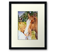 Her Friend - Impressionistic Equine & Figure Watercolor Painting Framed Print
