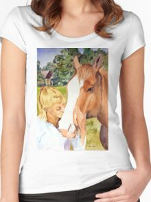 Her Friend - Impressionistic Equine & Figure Watercolor Painting Women's Fitted Scoop T-Shirt