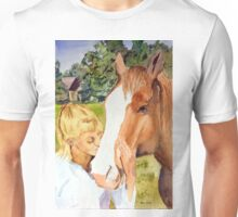 Her Friend - Impressionistic Equine & Figure Watercolor Painting Unisex T-Shirt