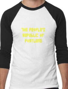 The People's Republic of Portland (yellow letters) Men's Baseball ¾ T-Shirt