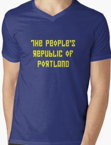 The People's Republic of Portland (yellow letters) Mens V-Neck T-Shirt