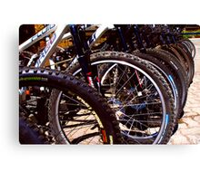 Lined up Bikes Canvas Print