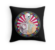 Psychedelic Anatomy Black Throw Pillow