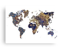 Map of the world sun Canvas Print