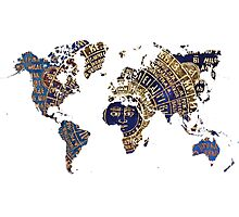 Map of the world sun Photographic Print