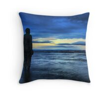 Statues on the beach Throw Pillow