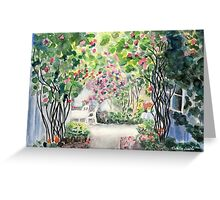 Roses in  a Swedish Courtyard Greeting Card