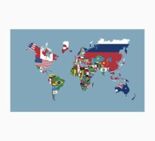 world flags map One Piece - Long Sleeve