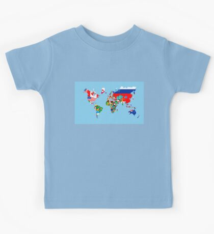world flags map Kids Tee