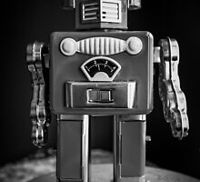 Vintage Tin Toy Robot Black and white by Edward Fielding