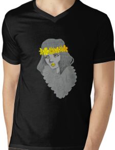 Woman with Flowers Mens V-Neck T-Shirt