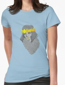 Woman with Flowers Womens Fitted T-Shirt