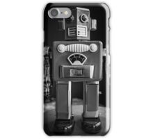 Vintage Tin Toy Robot Black and white iPhone Case/Skin