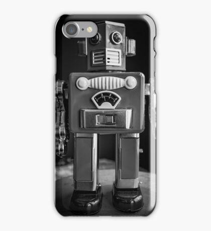 Vintage Tin Toy Robot Black and white iPhone Case/Skin