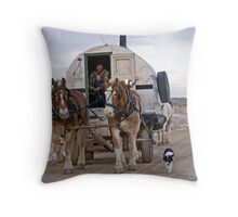Sheep Wagon, Red Desert, Wy Throw Pillow