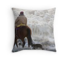Sheep Herding, Red Desert, Wyoming Throw Pillow