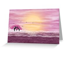Fantasy landscape in yellow and pink colors Greeting Card