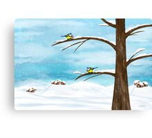 Chickadee birds in winter Canvas Print