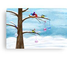 Chickadees celebrate Christmas Canvas Print