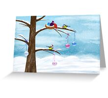 Chickadees celebrate Christmas Greeting Card