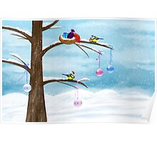 Chickadees celebrate Christmas Poster