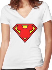 Super Mickey Women's Fitted V-Neck T-Shirt