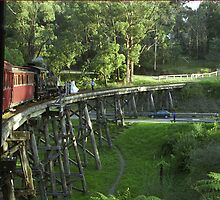 "Puffing Billy ""The Wedding Train"" on the Trestle Bridge. by Bev Pascoe"