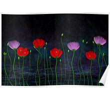 Red and pink flowers and abstract rain Poster