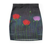 Red and pink flowers and abstract rain Mini Skirt