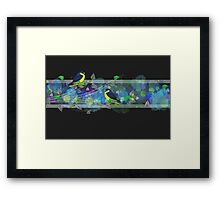 Bright border with painted birds and leaves Framed Print