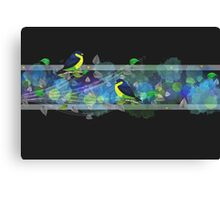 Bright border with painted birds and leaves Canvas Print