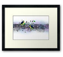 Vintage border with birds Framed Print
