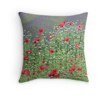 """Lavender and Poppies"" Throw Pillow"