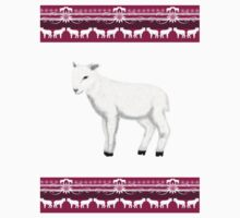 White lambs on a pink background One Piece - Long Sleeve