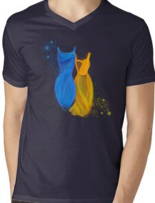 Abstract fashion in blue and orange Mens V-Neck T-Shirt