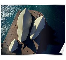 Sydney Opera House from helicopter, aerial, directly above Poster