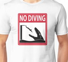 No Diving - Mosasaurus Warning Unisex T-Shirt