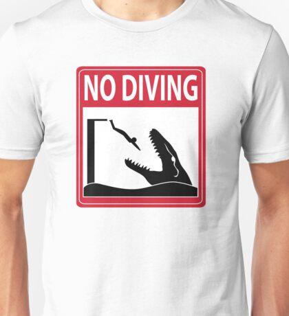 No Diving - Mosasaurus Warning Unisex T-Shirt