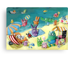 Monster Summer Time on the Beach Canvas Print